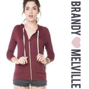 Brandy Melville Julia Zip Up Hoodie